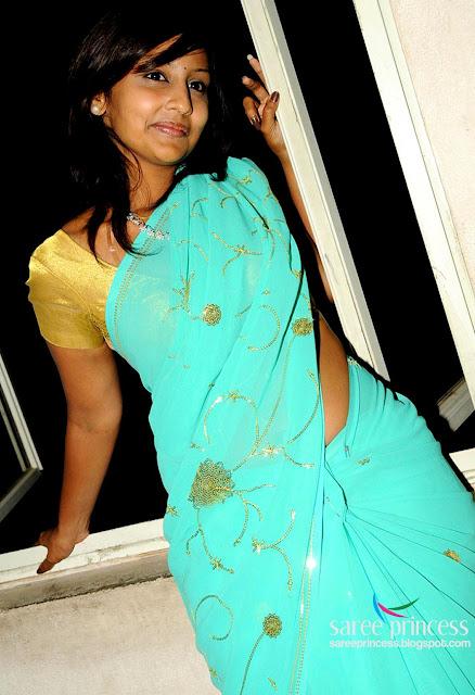 Tamil B Grade Actress Ishika Sizzling Hot In A Blue Saree Pics-9649
