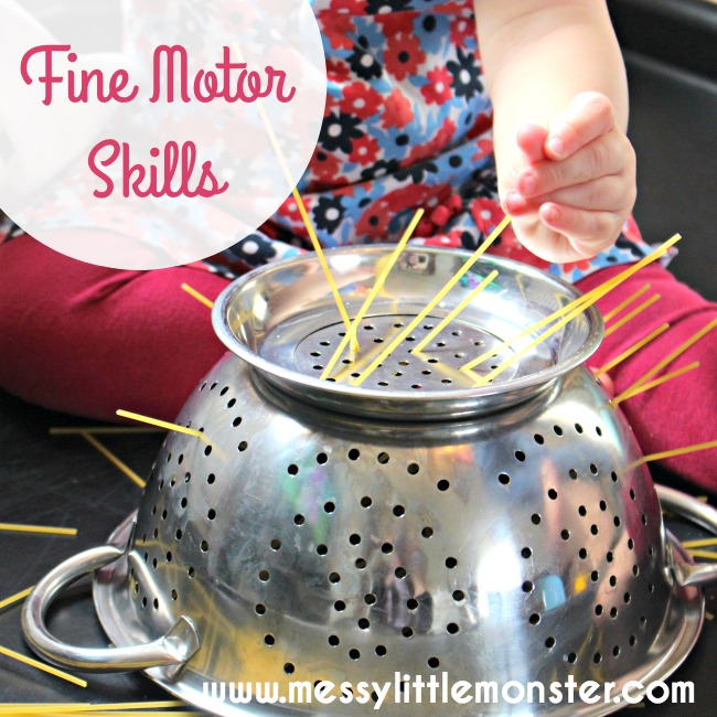 Fine motor skills activities for toddlers and preschoolers using spaghetti