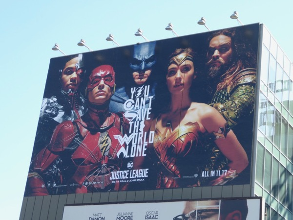 Giant Justice League movie billboard
