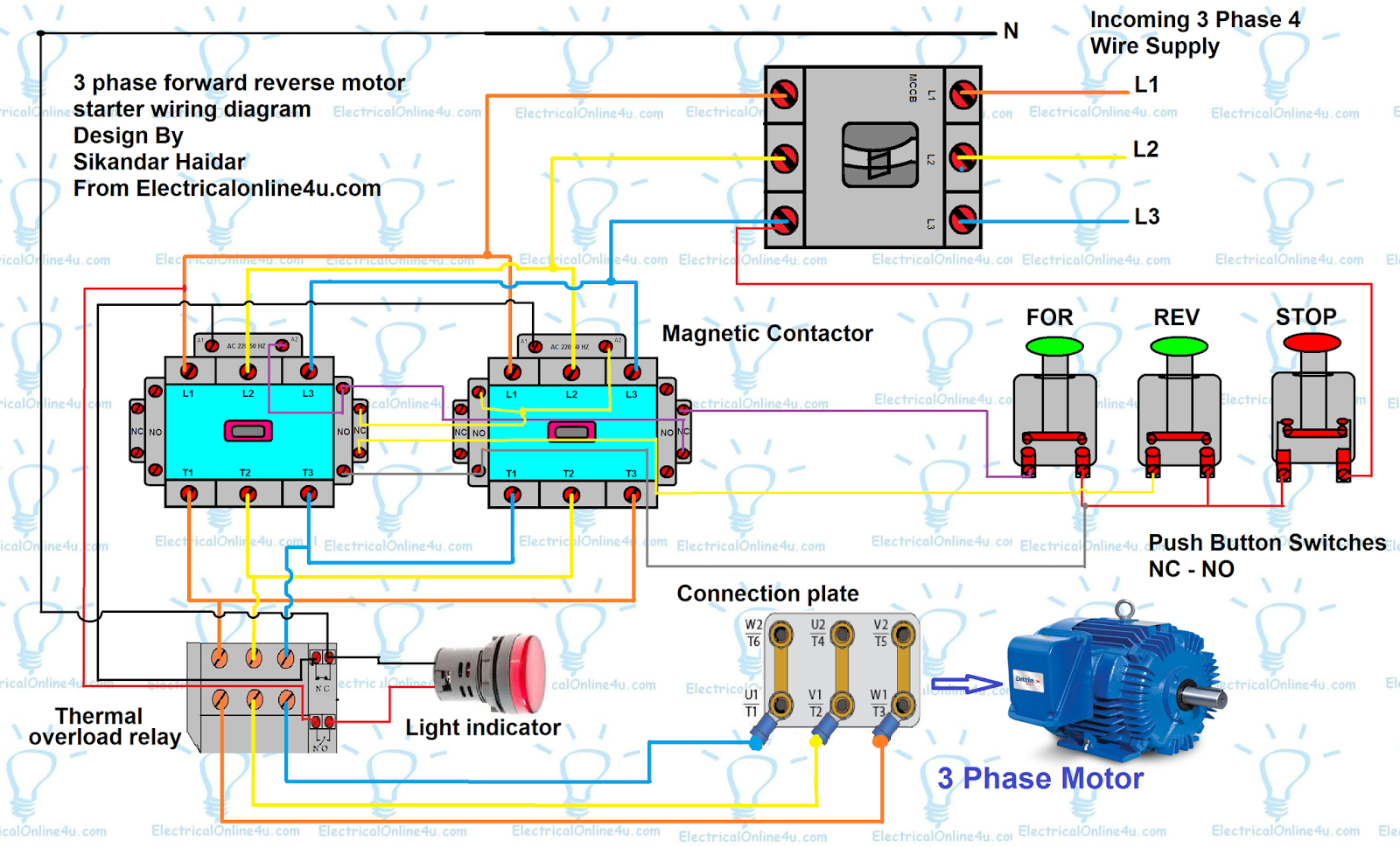 Forward Reverse Motor Control Diagram For 3 Phase Electrical Starter Wiring