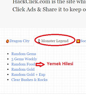 Monster Legends Yemek Hilesi