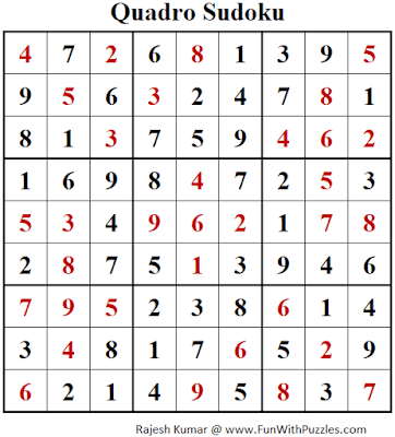 Answer of Quadro Sudoku Puzzles (Fun With Sudoku #396)
