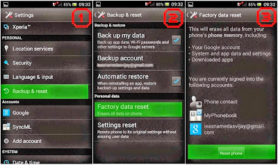 Hard Reset Sony Xperia SX SO-05D using menu