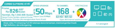 Paket First Media Combo Supreme X1 4K HD (Wifi)