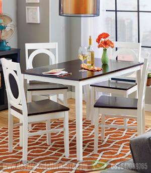 Meja makan minimalis 4 kursi warna kombinasi