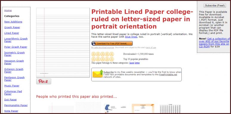 Printable Paper موقع يحتوي على قوالب ورقية جاهزة للطباعة بدون