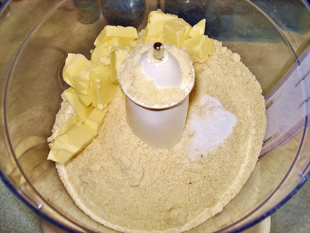 Pulse the butter and almond flour in a food processor