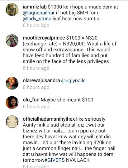 FANS BLAST LAIDE BAKARE FOR PAYING $1000 FOR HER FINGER NAILS