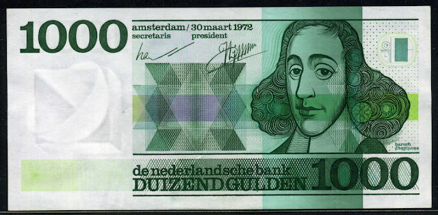 Netherlands banknotes currency 1000 Gulden note Spinoza banknote