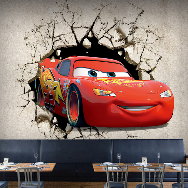 Disney Cars Wall Mural Wallpaper 3D Sticker Cars Brick Wall breaking through wall children room kids bedroom