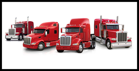 Lineup of Peterbilt Trucks