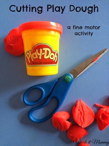fine motor activity, cutting play dough