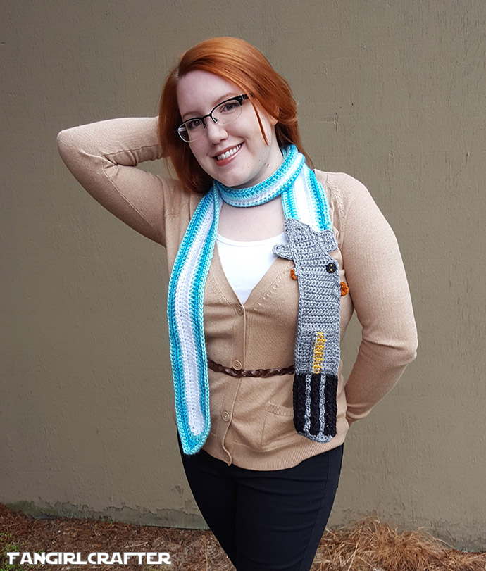 Luke Skywalker Blue Lightsaber Scarf by the Fangirl Crafter