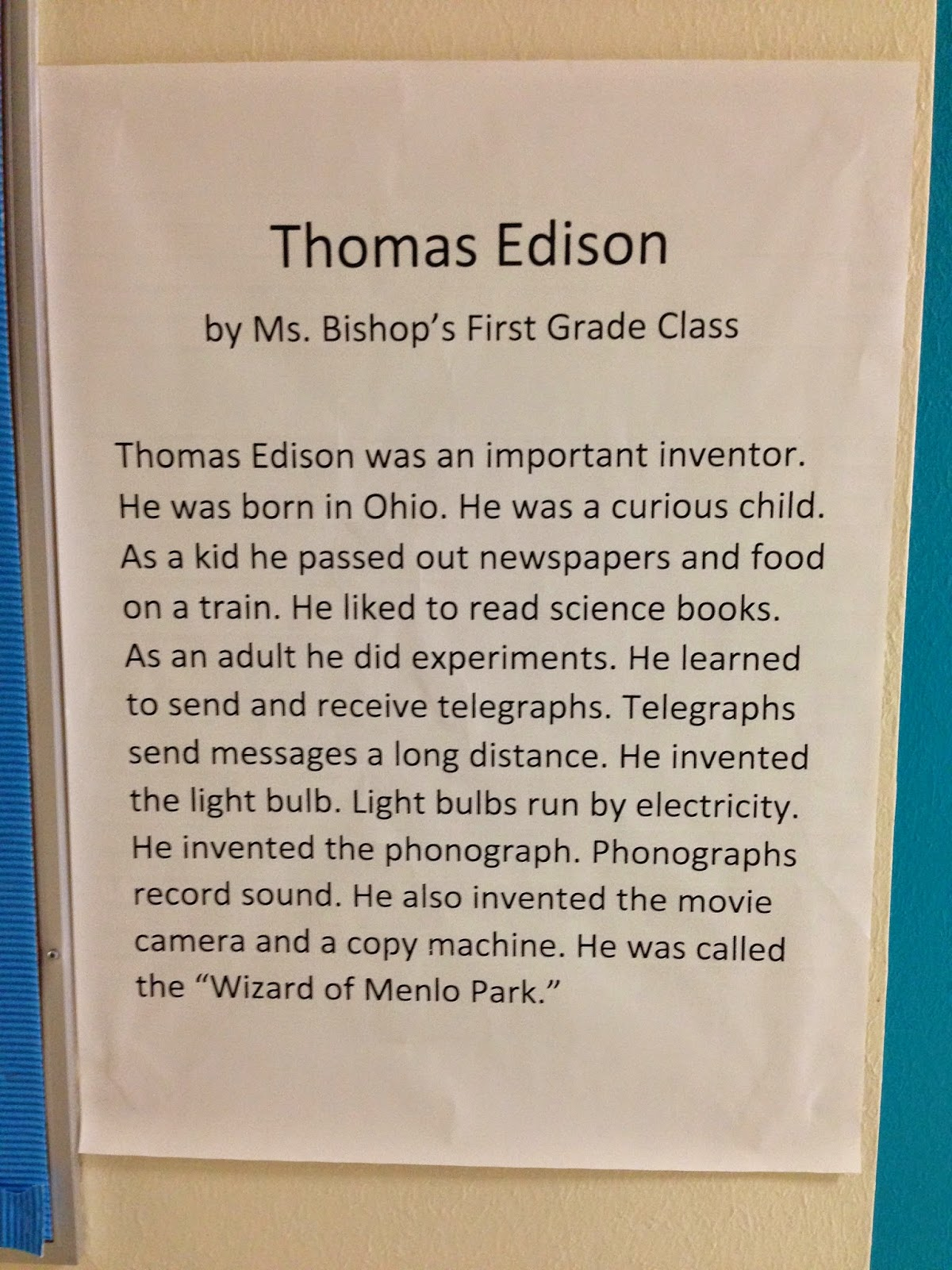 Bishop S Blackboard An Elementary Education Blog Thomas Edison
