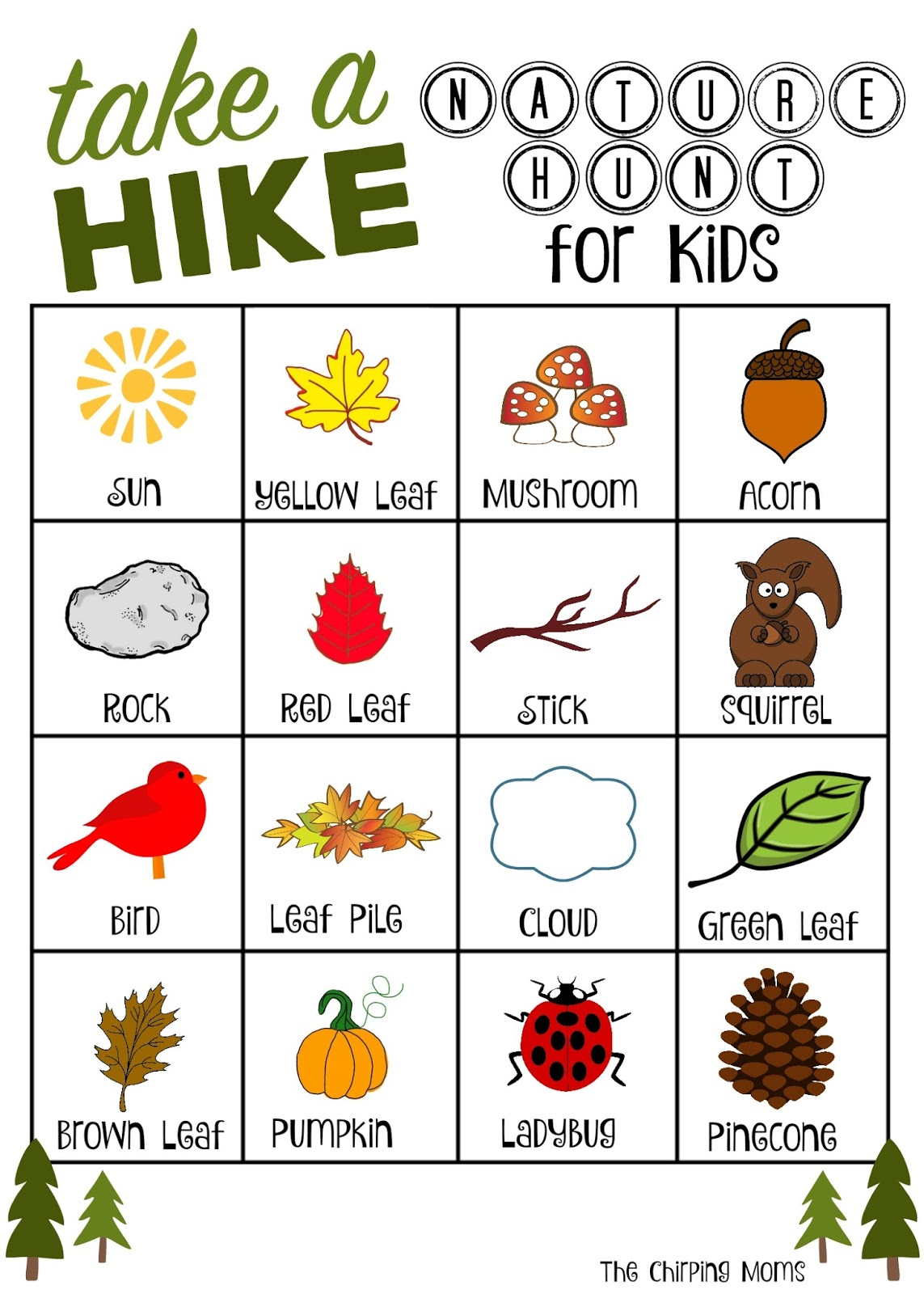 take a hike nature hunt free printable the chirping moms. Black Bedroom Furniture Sets. Home Design Ideas