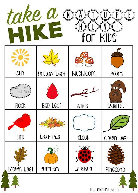 Take a Hike Nature Hunt for Kids Free Printable
