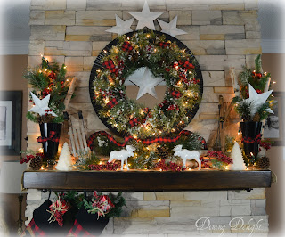Cabin Christmas mantel