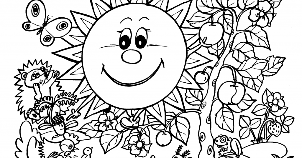 kids page smile sunflowerwith animals and naturespring coloring pages. Black Bedroom Furniture Sets. Home Design Ideas