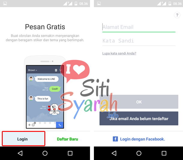 cara login line android