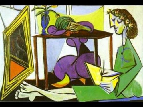 Mulher em frente ao espelho, pintura de Pablo Picasso.