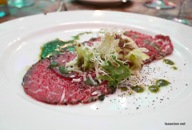 Beef Carpaccio, Fennel and Orange, Green Shisho Leaf with Oil pesto vinaigrette