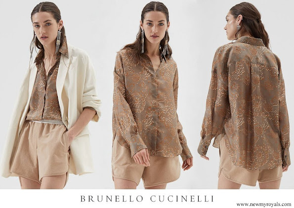 Princess Charlene wore Brunello Cucinelli Exotic silk pongee shirt