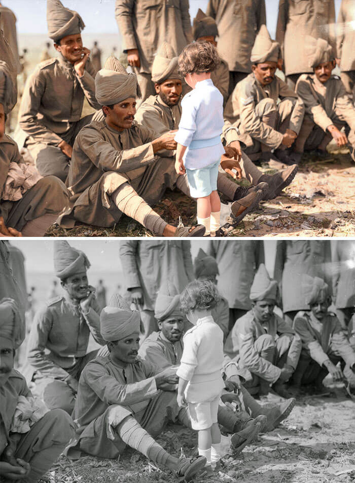 Digital Artist Colorizes The Last Heartbreaking Pictures Of A 14-Year-Old Polish Girl In Auschwitz - A French Boy Introduces Himself To Indian Soldiers