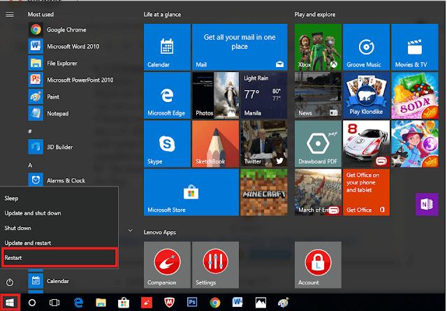 restart windows 10 untuk meningkatkan kecepatan