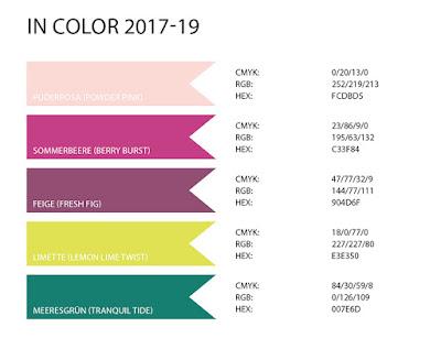 Stampin' Up! rosa Mädchen Kulmbach: Spoiler Alarm - Farbwerte der neuen InColor Farben 2017-19 (RGB / CMYK / HEX) Color Codes