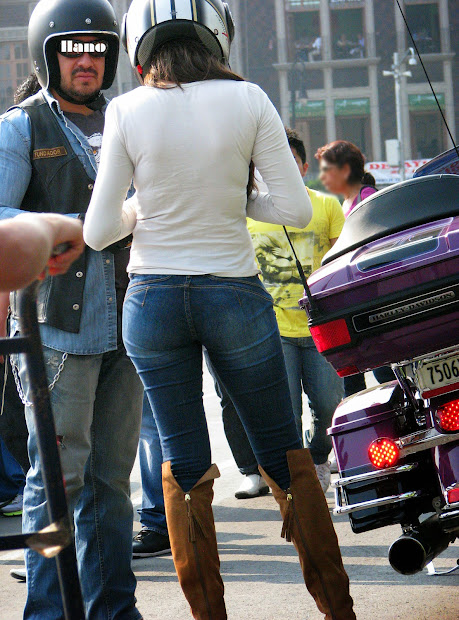 Sexy Girls Street In Jeans Spandex And Leggings Tight Dresses. Big Butt