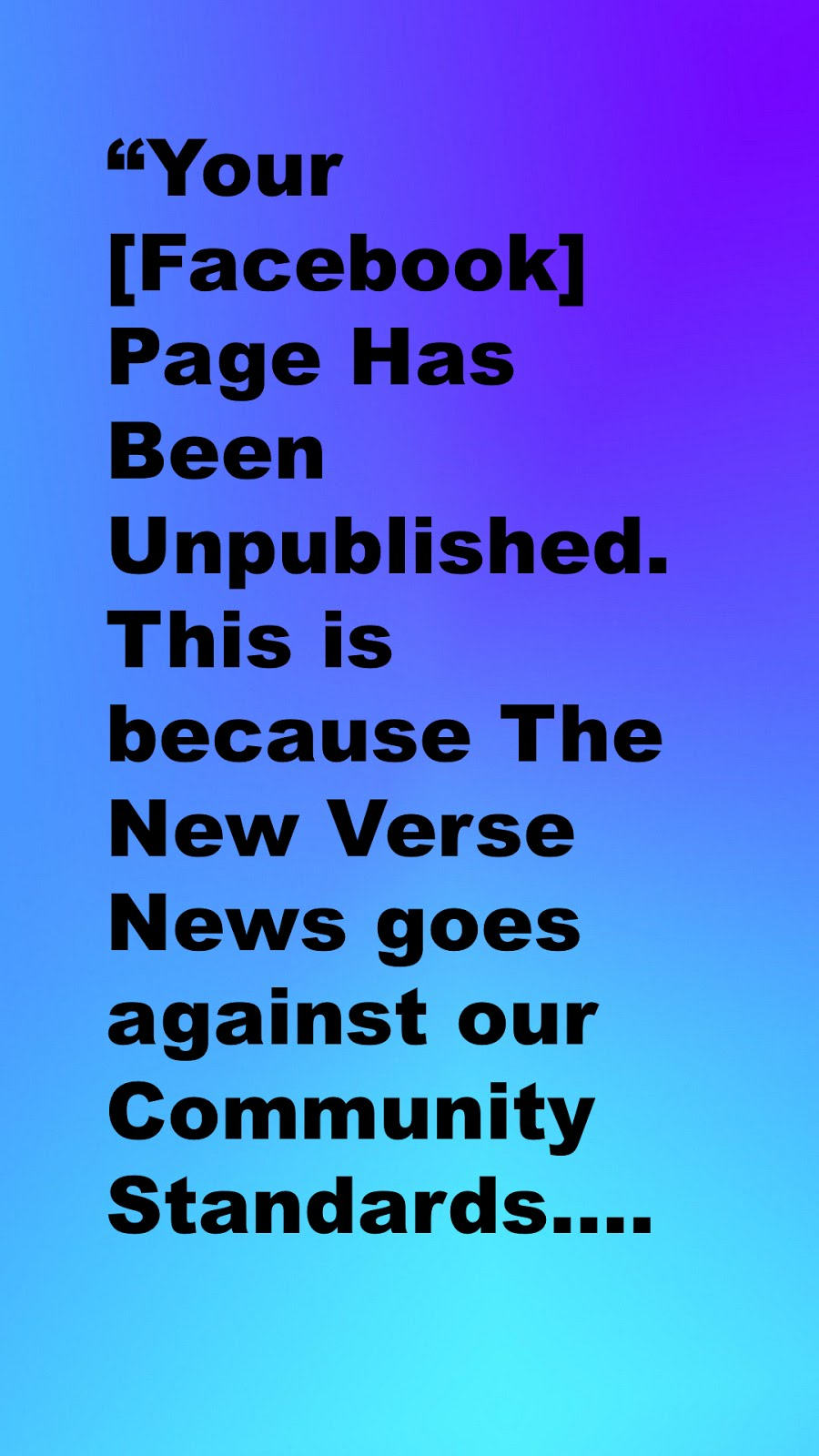 Message received at The New Verse News from Facebook
