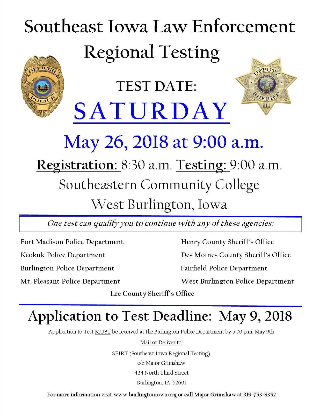 Icc law police testing for several departments in southeastern iowa may 26th 1betcityfo Image collections