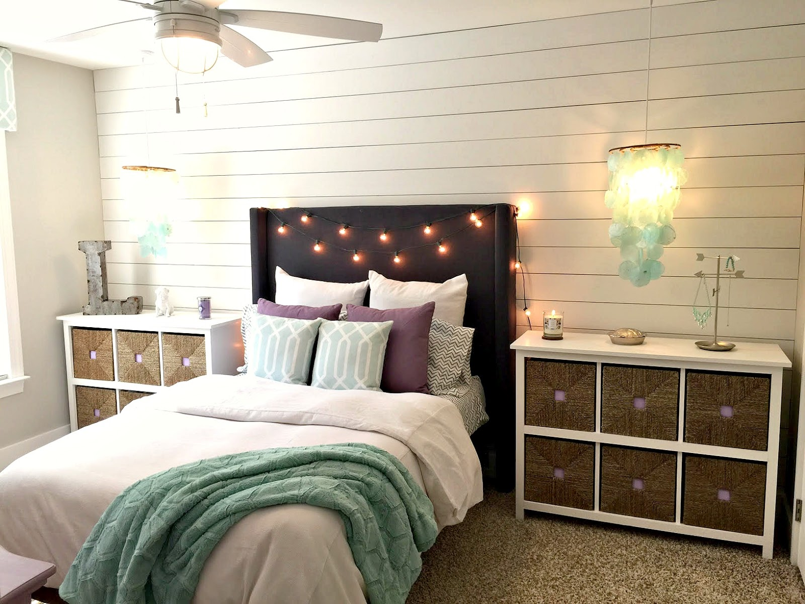 Seaside interiors behind the scenes creating the fabric covered headboard and shiplap accent wall - Wall photos for bedroom ...