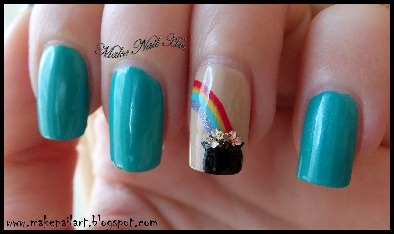 Make Nail Art St Patricks Day Pot Of Gold Nail Art Tutorial