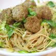 Angel Hair Pasta with Spring Onions and Pesto Turkey Meatballs