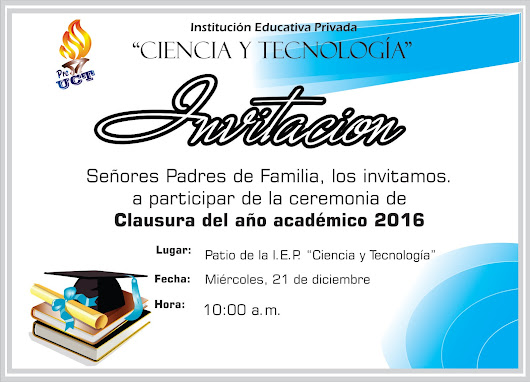 Invitación a Ceremonia de Clausura 2016