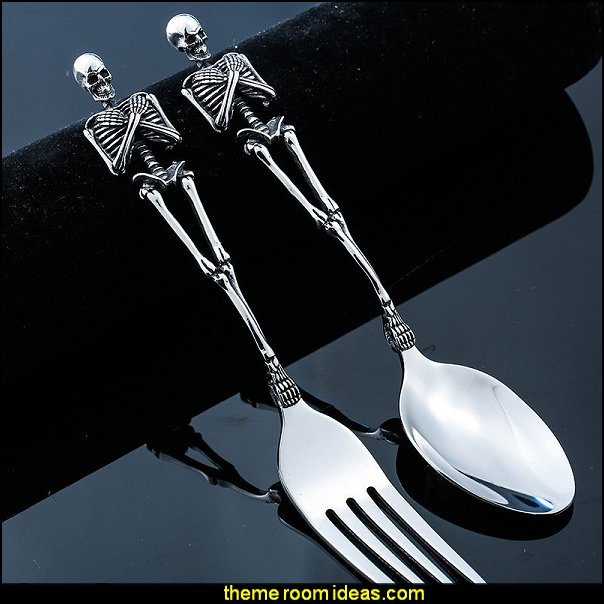 Skeleton Handle Cutlery Fork & Spoon Set  Gothic kitchen decor - gothic kitchenware - gothic dinnerware - skulls kitchen decorations - bat kitchen decor  dracula  vampires - Halloween kitchen decorating - skeletons kitchen decor -  zombie kitchen stuff - Gothic home decor - Gothic wall decor