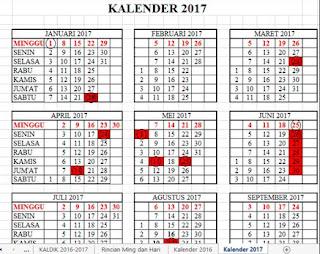 Kalender Pendidikan Tahun 2017 Dilengkapi Rincian Hari Dan Minggu Efektip