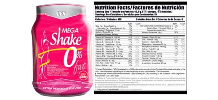 Proteína Mega shake de UPN para mujeres
