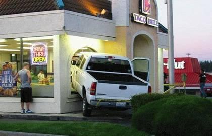 pickup crashes into entrance