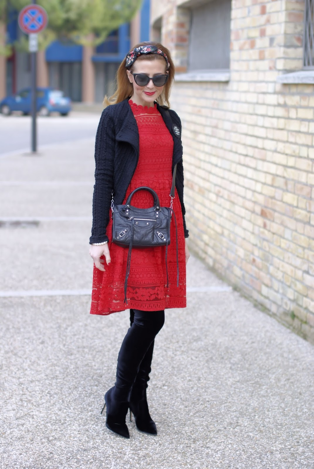 How to wear lace in Winter: Dezzal red lace dress, Balenciaga City Mini bag and Le Silla velvet boots on Fashion and Cookies fashion blog, fashion blogger style