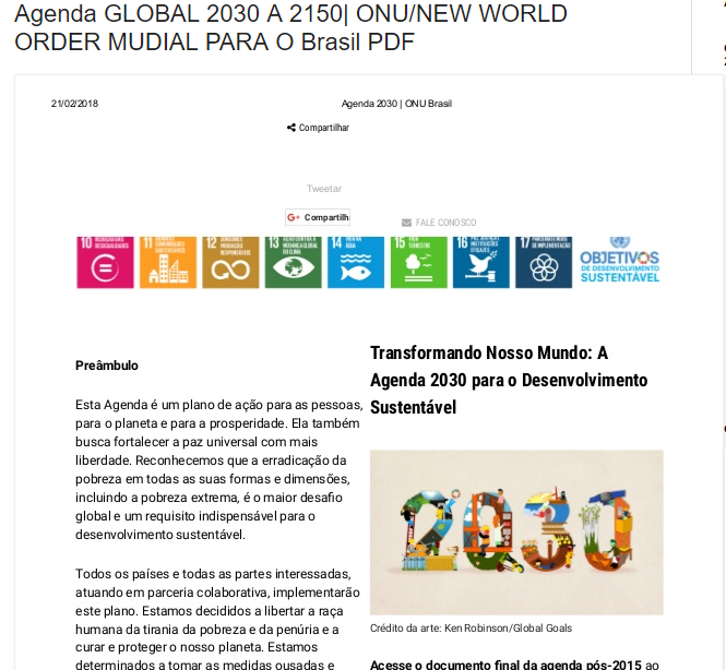 Agenda GLOBAL 2030 A 2150| ONU/NEW WORLD ORDER MUDIAL PARA O Brasil PDF