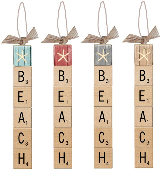 Scrabble Tile Beach Ornaments
