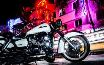 Wallpaper: New York. Night. Street. Motorcycle