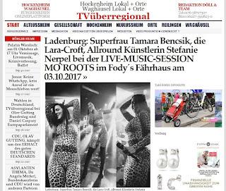 Ladenburg: Superfrau Tamara Bencsik, die Lara-Croft, Allround Künstlerin Stefanie Nerpel bei der LIVE-MUSIC-SESSION MO`ROOTS im Fody´s Fährhaus am 03.10.2017  http://tvueberregional.de/ladenburg-superfrau-tamara-bencsik-die-lara-croft-allround-kuenstlerin-stefanie-nerpel-bei-der-live-music-session-moroots-im-fodys-faehrhaus-am-03-10-2017/