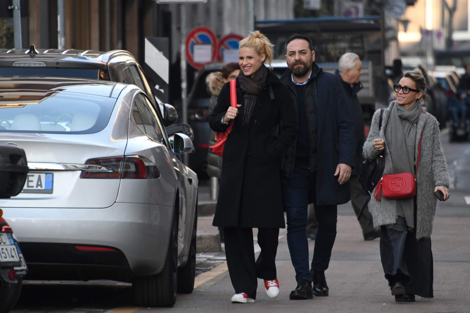 Michelle Hunziker out for a walk in Milan, Italy - 02/05/2019