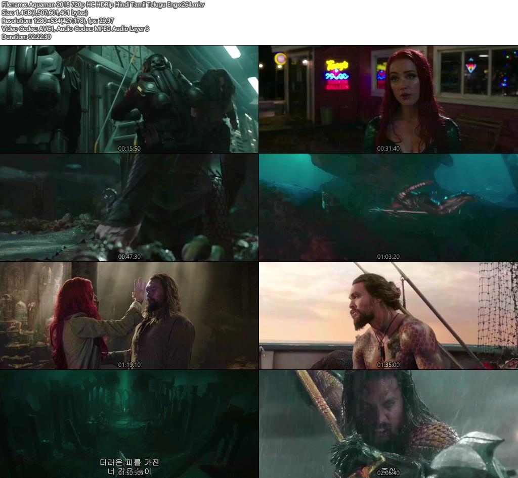 Aquaman 2018 720p HC HDRip Hindi Tamil Telugu Eng x264 | 480p 300MB | 100MB HEVC Screenshot