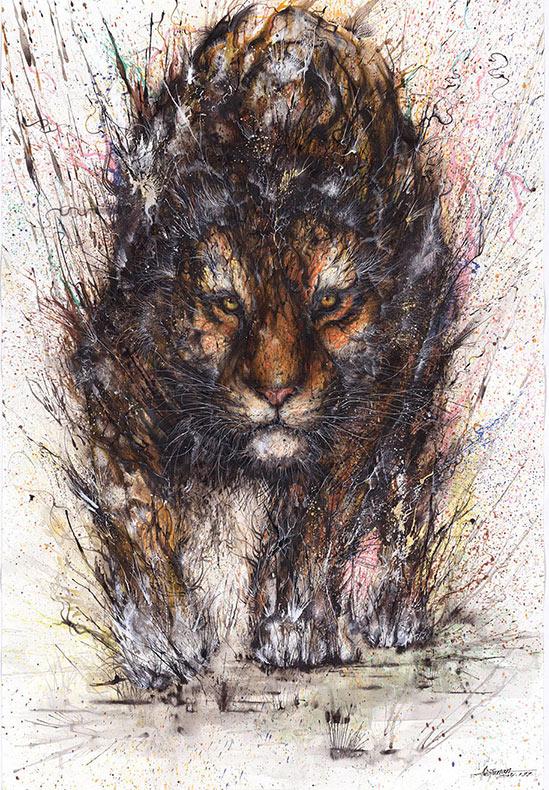Retratos de salpicaduras de pintura de Gorgeous captura la naturaleza pensativa de los animales salvajes