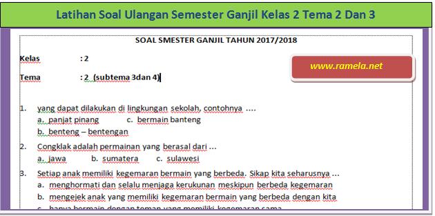 Latihan Soal Ulangan Semester Ganjil Kelas 2 Tema 2 Dan 3