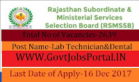 Subordinate & Ministerial Services Selection Board Recruitment 2017